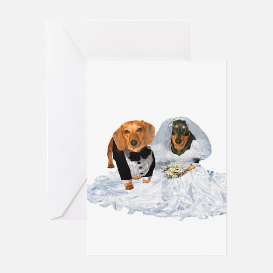 Wedding Dachshunds Dogs Greeting Card
