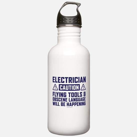 Caution Electrician Water Bottle
