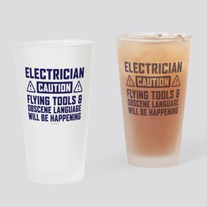 Caution Electrician Drinking Glass