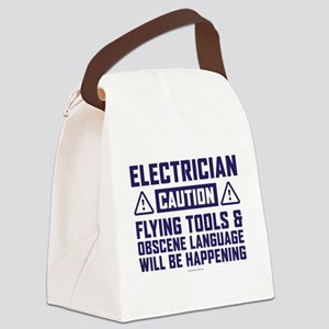 Caution Electrician Canvas Lunch Bag