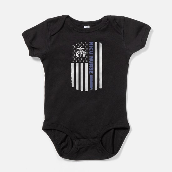 NICU Nurse Flag Baby Bodysuit