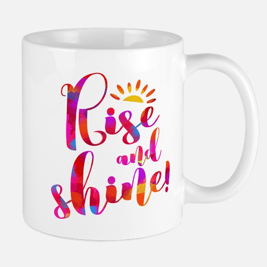 Rise And Shine Watercolor Typography Mugs