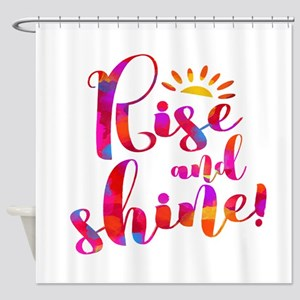 Rise And Shine Watercolor Typograph Shower Curtain