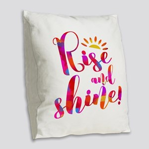 Rise And Shine Watercolor Typo Burlap Throw Pillow