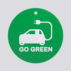 Go Green ~ Drive Electric Cars Round Ornament