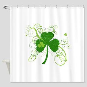 St Paddys Day Fancy Shamrock Shower Curtain