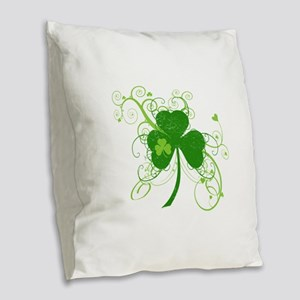 St Paddys Day Fancy Shamrock Burlap Throw Pillow