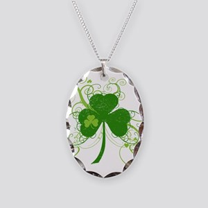 St Paddys Day Fancy Shamrock Necklace Oval Charm