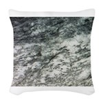 Black and White Rock at Beach Woven Throw Pillow