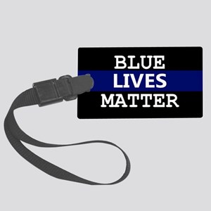 Blue Lives Matter Blue Stripe Large Luggage Tag