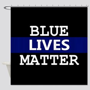 Blue Lives Matter Blue Stripe Shower Curtain