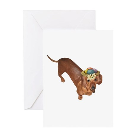 Tiger Dachshunds Dogs Nest Eggs Hat Greeting Card