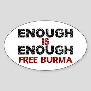 Enough Is Enough (Burma) 1.2 Oval Sticker