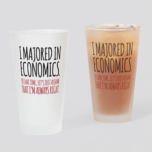 Majored In Economics Drinking Glass