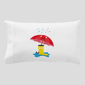 Raincloud, rubber boots and umbrella Pillow Case