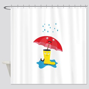 Raincloud, rubber boots and umbrell Shower Curtain