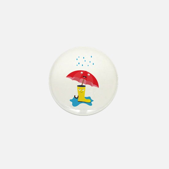 Raincloud, rubber boots and umbrella Mini Button