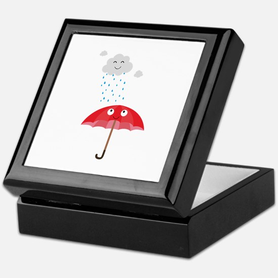 Rain cloud and umbrella Keepsake Box