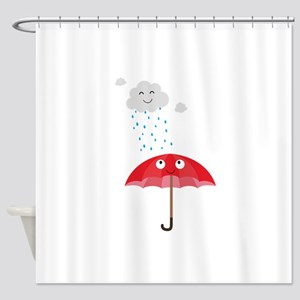 Rain cloud and umbrella Shower Curtain