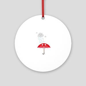 Rain cloud and umbrella Round Ornament