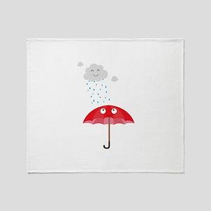 Rain cloud and umbrella Throw Blanket