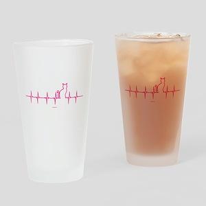 Cat Heartbeat Drinking Glass