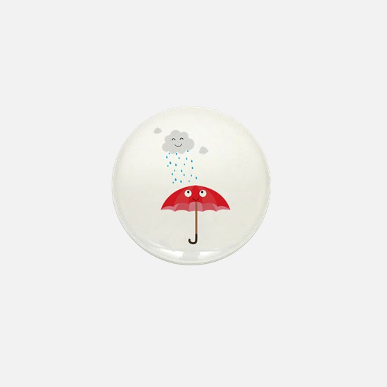 Rain cloud and umbrella Mini Button