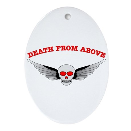 Death From Above Skull Oval Ornament