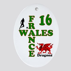 Wales France Dragons 16 Oval Ornament