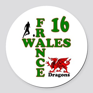 Wales France Dragons 16 Round Car Magnet
