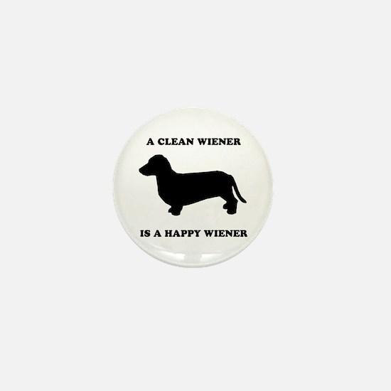 A clean wiener is a happy wiener Mini Button