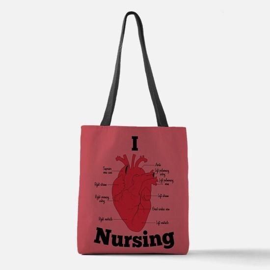 I Heart Nursing Polyester Tote Bag