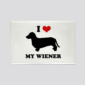 I love my wiener Rectangle Magnet