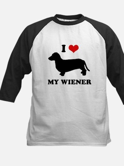 I love my wiener Kids Baseball Jersey