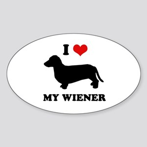 I love my wiener Oval Sticker