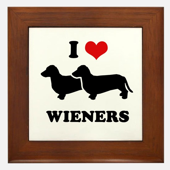 I love my wieners Framed Tile