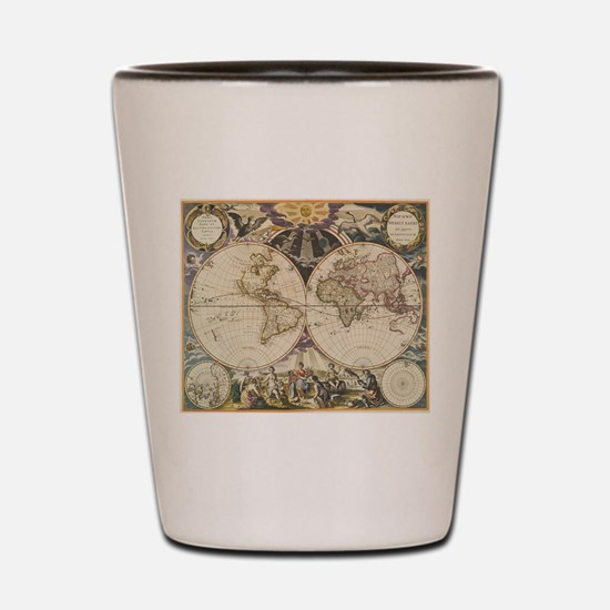 Vintage Map of The World (1668) Shot Glass