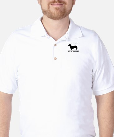 Are you looking at my wiener? Golf Shirt