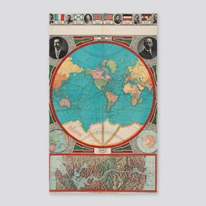 Vintage Map of The World (1913) Area Rug