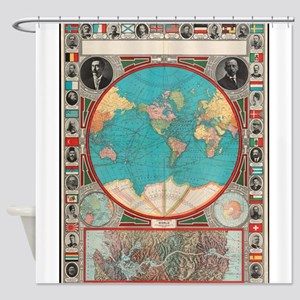Vintage Map of The World (1913) Shower Curtain