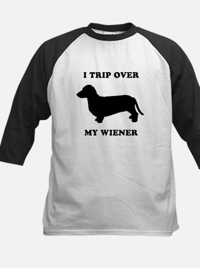 I trip over my wiener Kids Baseball Jersey