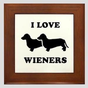 I love my wieners Framed Tile