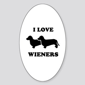 I love my wieners Oval Sticker