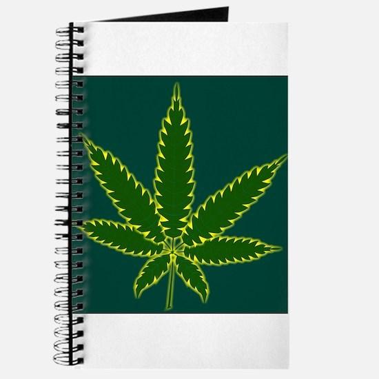 Cannabis Leaf Background Journal