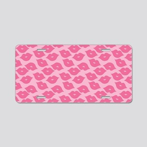 Girly Pink Lips Aluminum License Plate