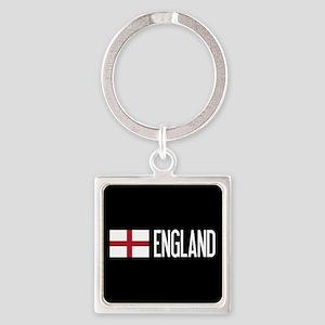 England: English Flag & England Square Keychain