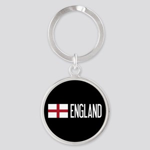 England: English Flag & England Round Keychain
