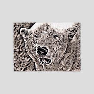 Rustic style Polar Bear 5'x7'Area Rug