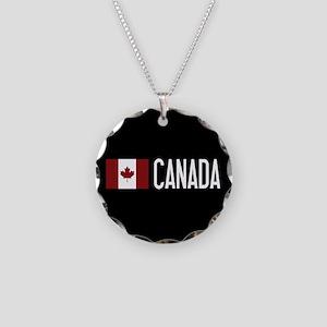 Canada: Canadian Flag & Cana Necklace Circle Charm