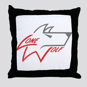 Lone Wolf logo (red/gray) Throw Pillow
